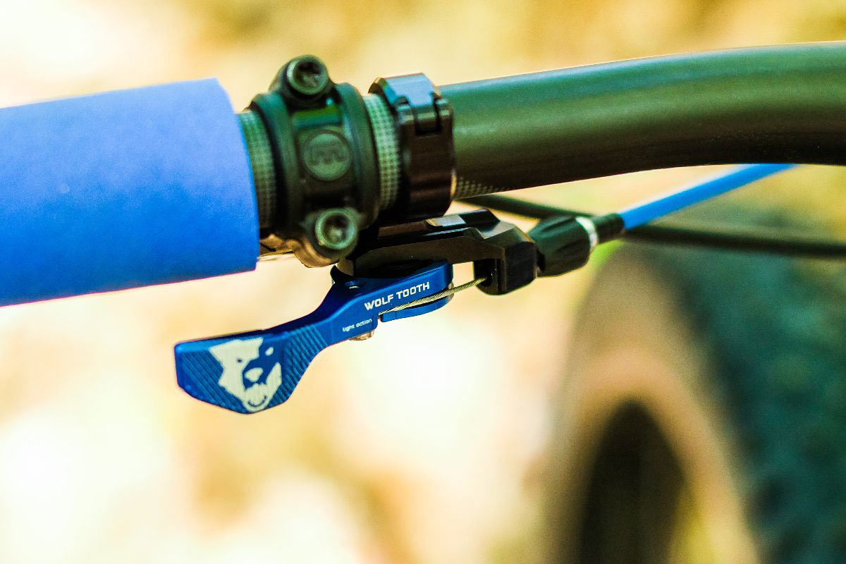 limited edition blue anodized Wolf Tooth Components ReMote dropper seatpost lever