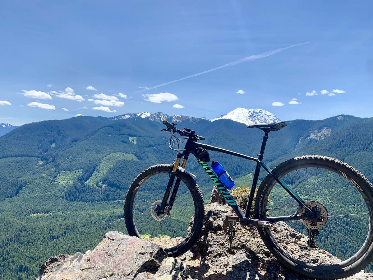 bikerumor pic of the day mt. rainier as seen from the palisades trail in washington state.