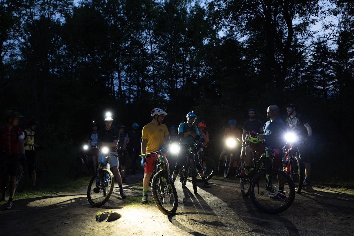 bikerumor pic of the day night bike ride at the Kingdom Trails in Vermont