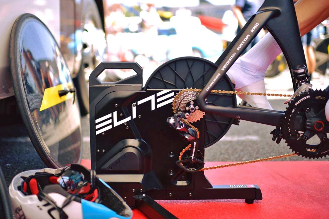 Elite Suito direct drive smart trainer, easy-setup compact magnetic resistance interactive smart indoor cycling trainer