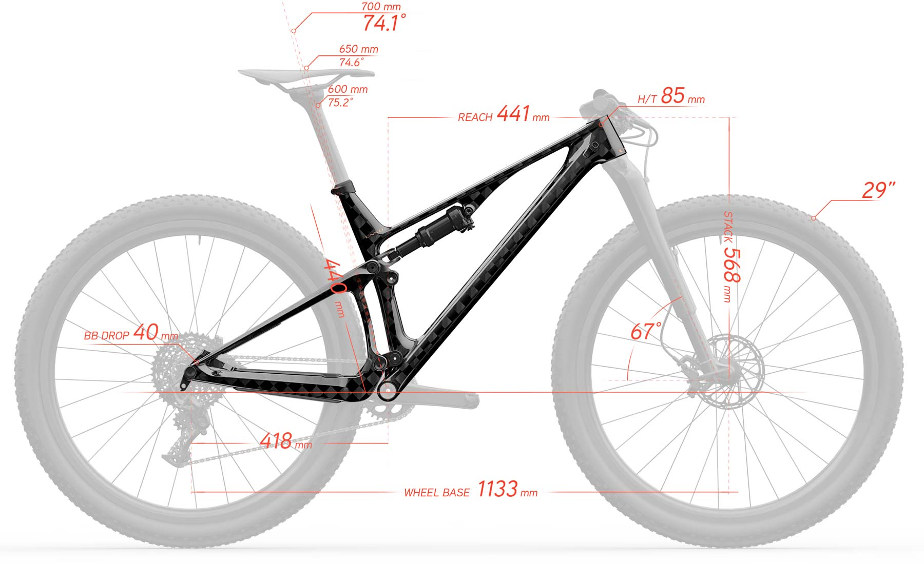 Unno Horn 100mm XC bike, limited edition lightweight carbon short-travel cross-country race mountain bike geometry