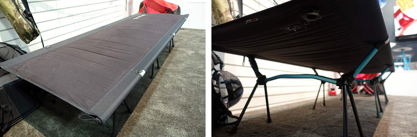 lightweight camping cot with insulated inflatable pad from helios