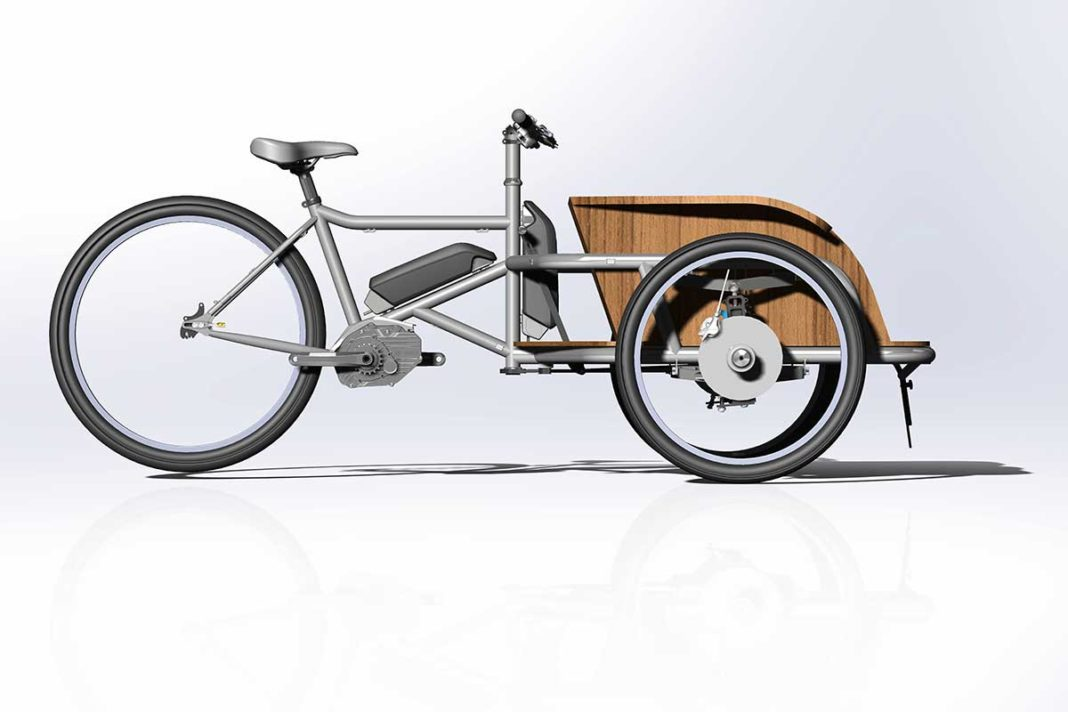 Juggernaut 2 e-cargo trike bicycle with independent front suspension and dual battery bosch motor