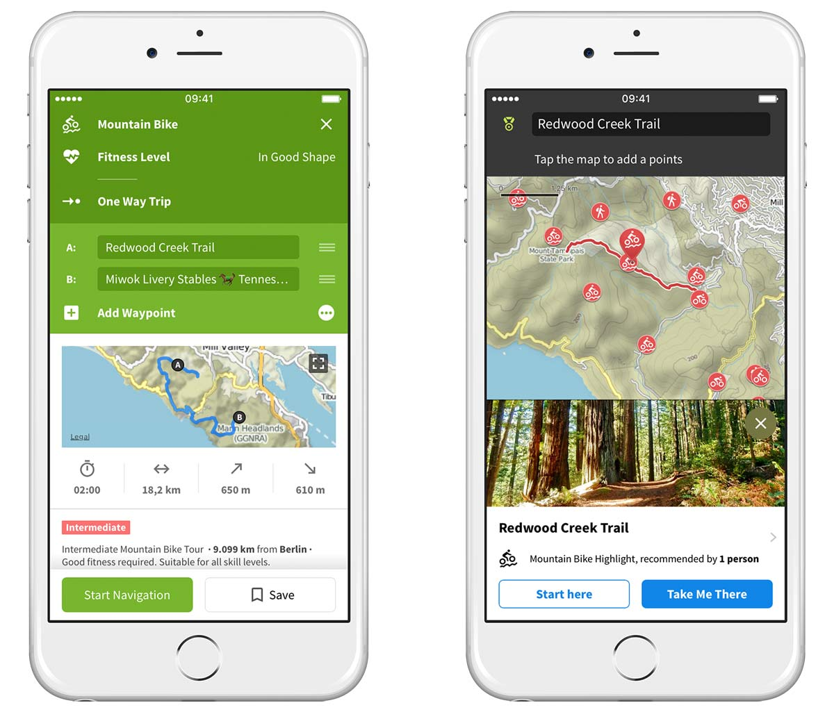 komoot lets you plan mountain bike routes and navigates you through the trail