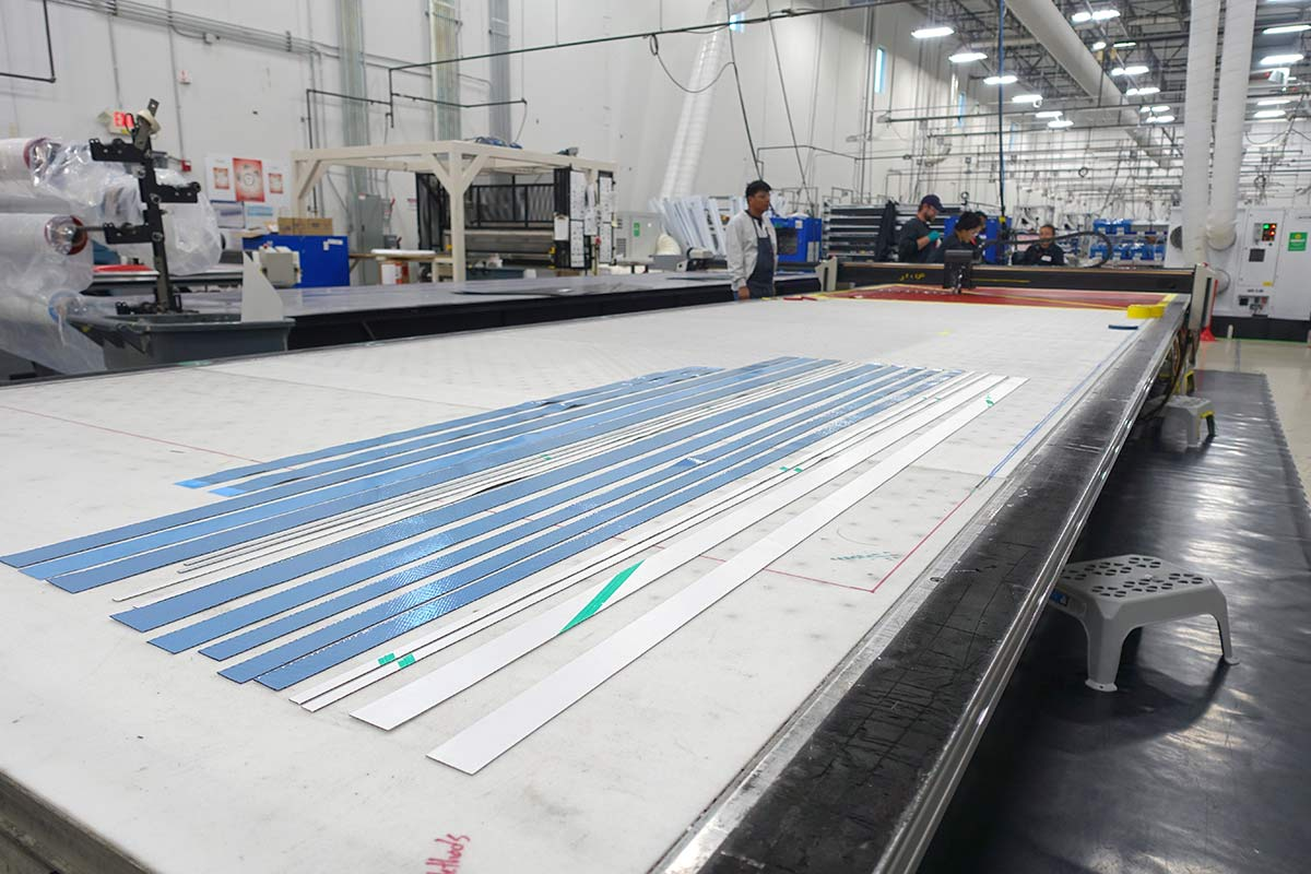 carbon cutting table at Zipp headquarters and rim factory