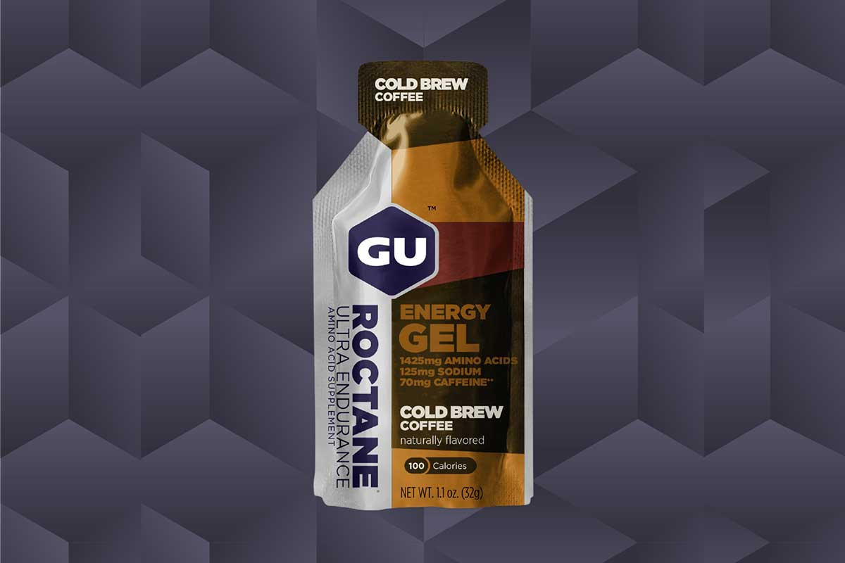 gu cold brew coffee energy gel with double caffeine and amino acids