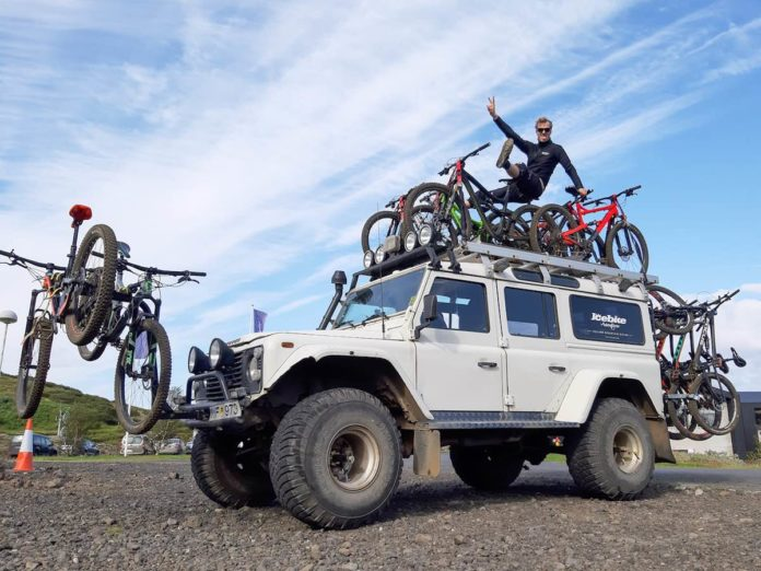 bikerumor pic of the day icebike mountain bikes on a land rover in iceland
