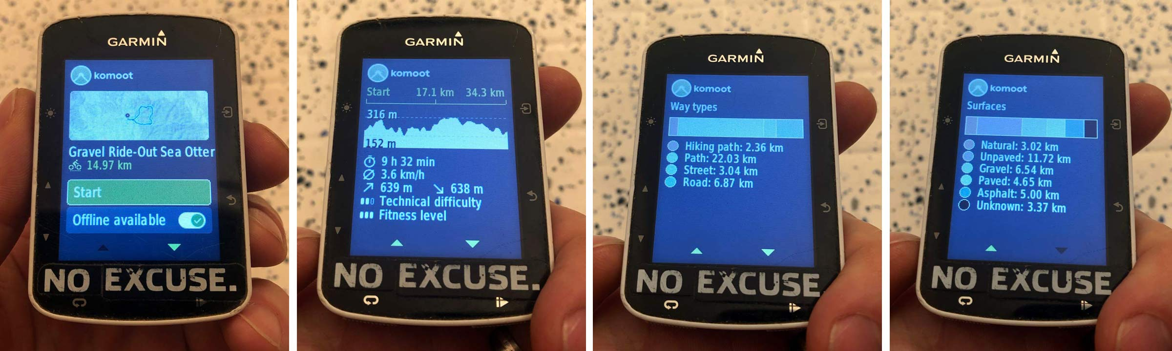 Komoot ride mapping route finding review, gravel bike exploring, new Gamin Connect IQ app