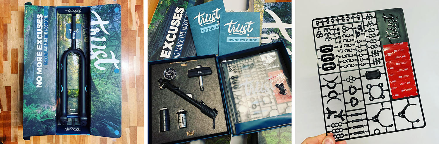 what is included in the box with the trust message linkage suspension fork