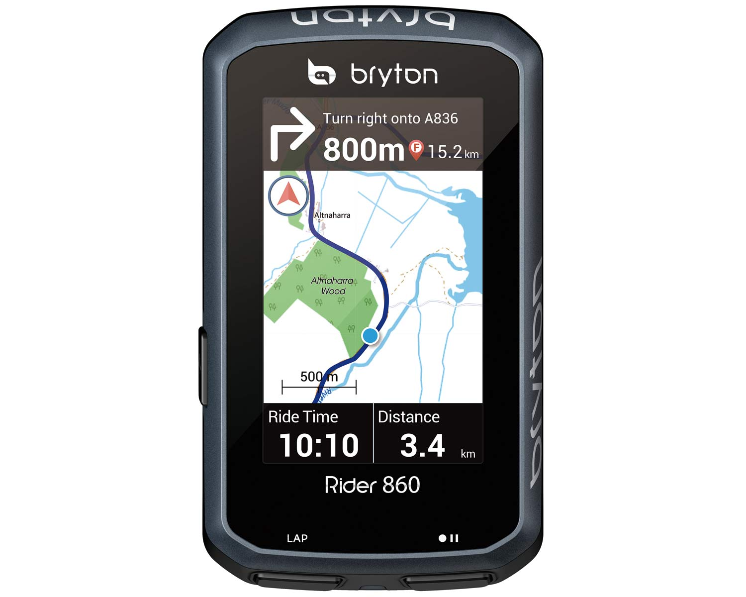 Bryton Rider 860 full-color, touch-screen Android cycling computer