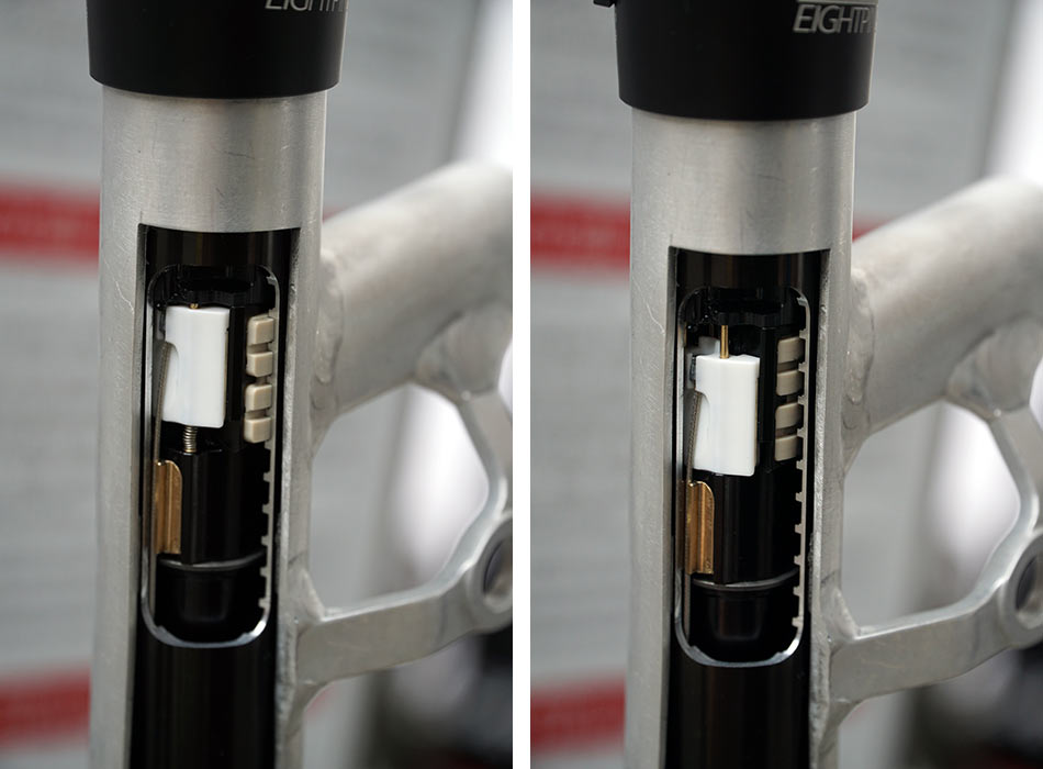 how does EightPins integrated dropper seatpost work