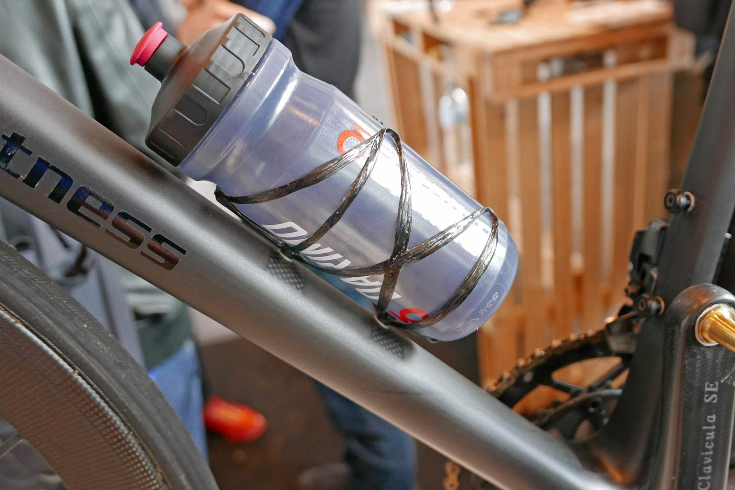 Prototype Darimo ultralight carbon water bottle cage