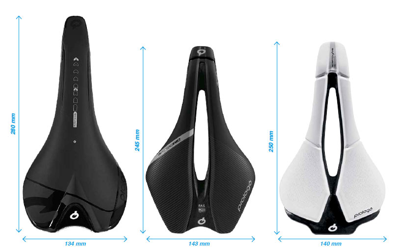 how much shorter is the prologo m5 saddle than the standard scratch saddle