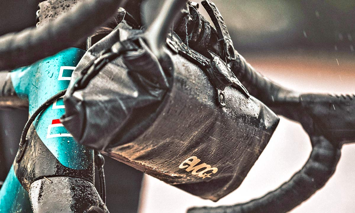EVOC Bikepacking bags review, off-road riding MTB gravel adventure packs with Boa dial mounts, Basso Gravel tour photos by Javi Echevarria