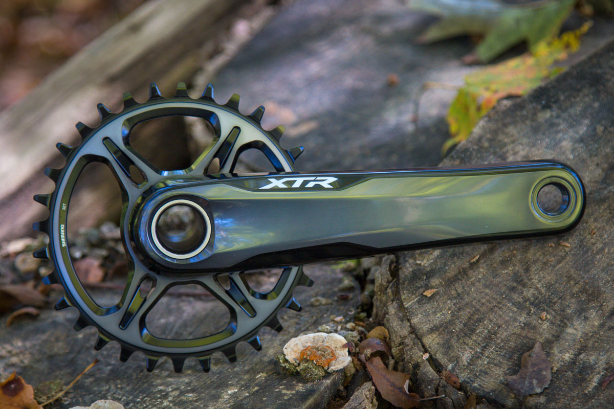 Shimano XTR m9100 crankset actual weight chainring production review-9