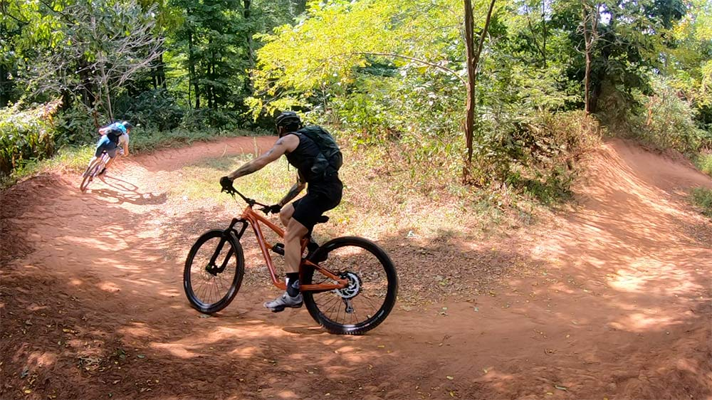 """We warmed up on Barn Burner, one of the """"medium"""" flow and jump trails at Baker Creek Preserve."""