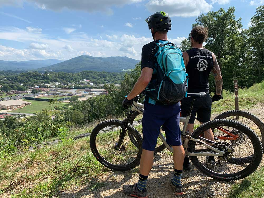 tannery knobs mountain bike park overlooks the ballpark so you can watch fireworks from above the parking lot