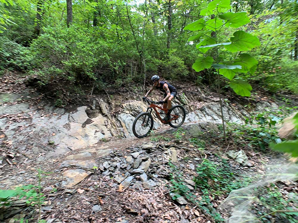 natural rock offers great technical mountain biking at tannery knobs bike park