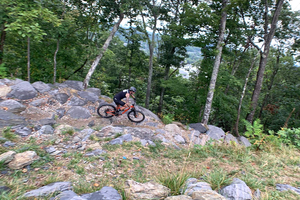 ride review of the rock garden drop in at tannery knobs mountain bike park in johnson city tennessee