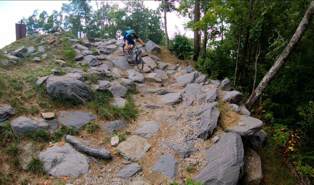 trail review at tannery knobs mountain bike park shows off the rock garden drop in on their black diamond trails