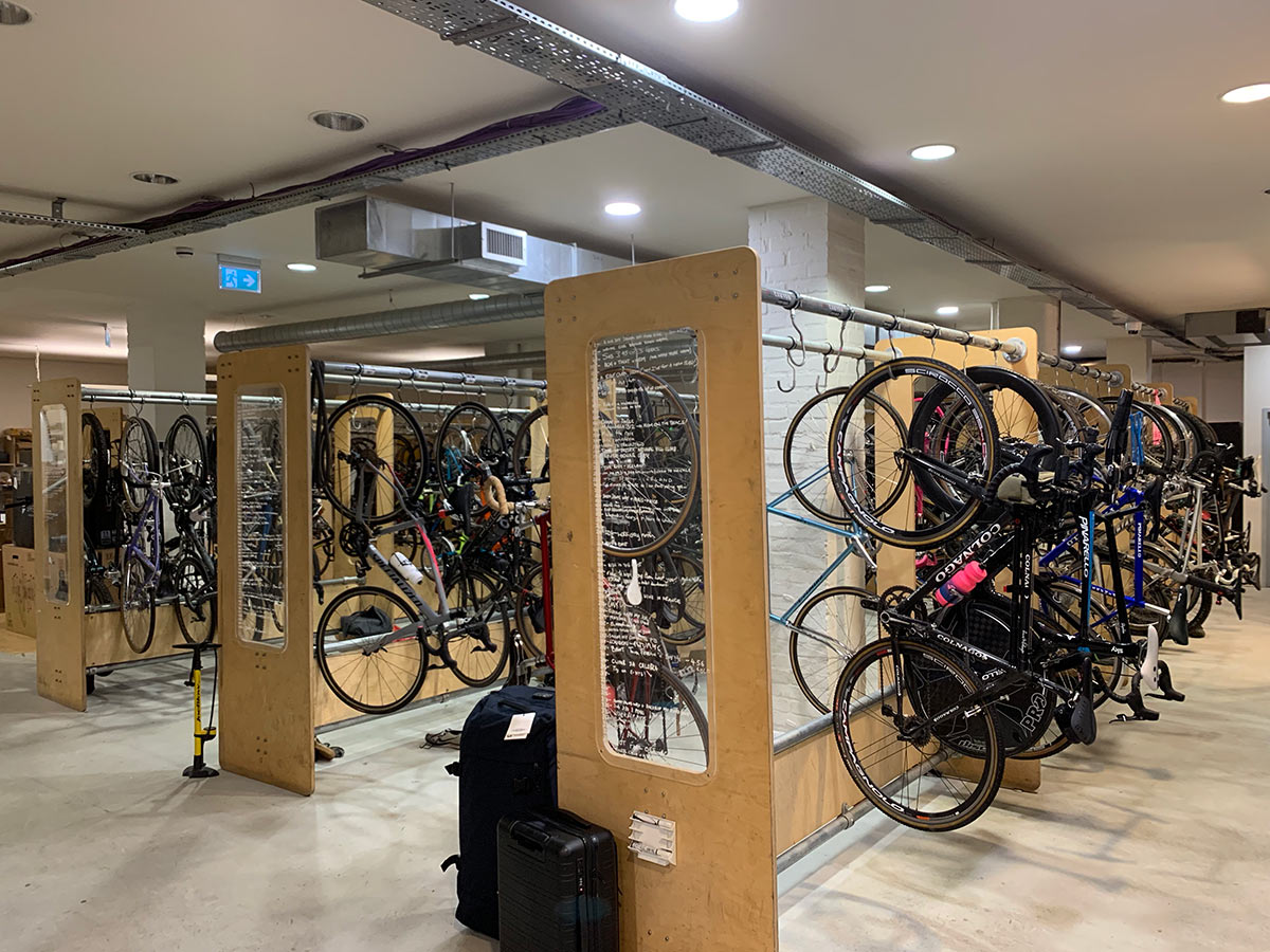 rapha employee bike parking inside their London headquarters and office
