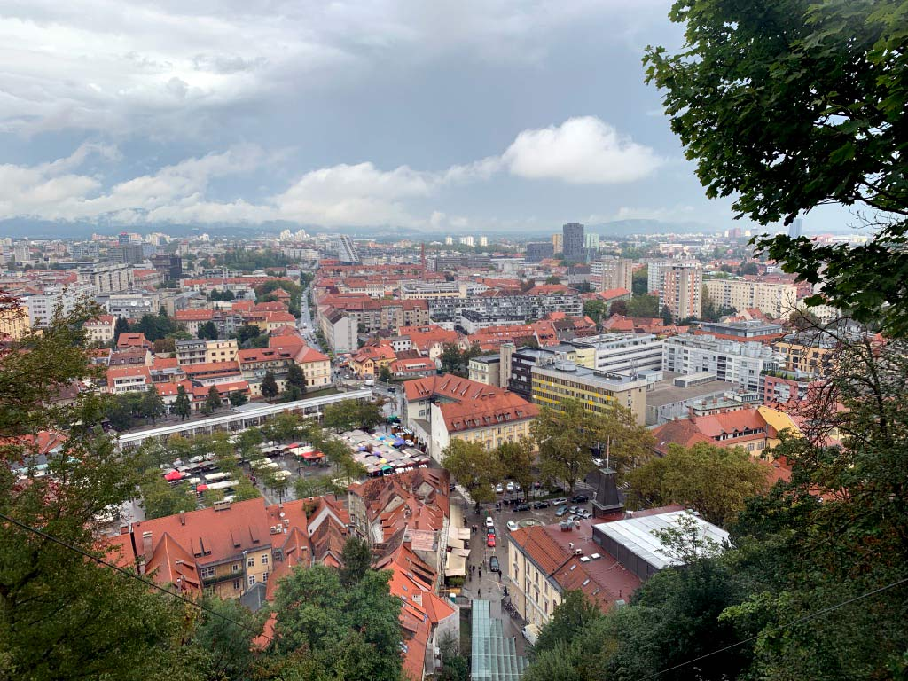 view of downtown ljubljana from the castle vernacular