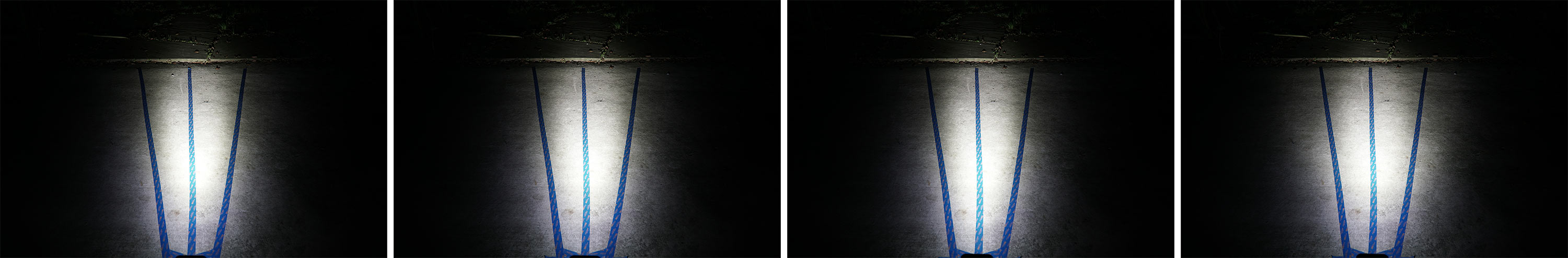 side by side comparison of gloworm xsv beam patterns with each lens optic installed