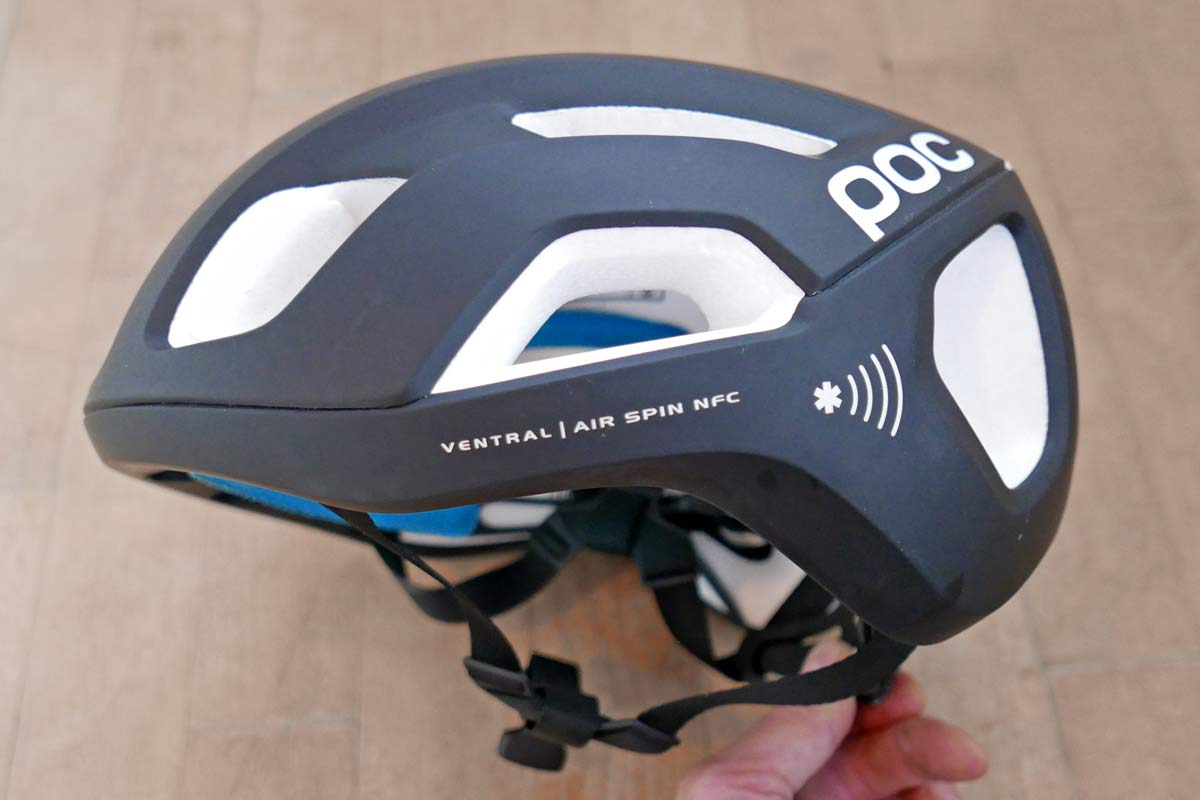POC Ventral Air SPIN NFC smart helmet review, near field communication twICEme medical health data stored in lightweight vented road bike helmet