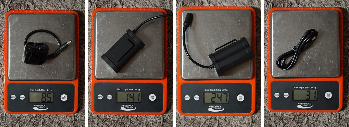 actual weights for the Gloworm X2 bike light system with different battery options