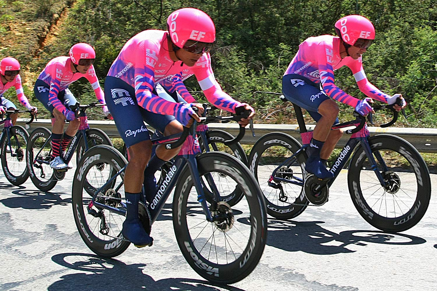 EF Education First pro road tubeless, Vision Metron 81 SL  Disc tubeless wheels, Vittoria Corsa Speed TLR tubeless tires, 2020 Tour Colombia, photo by Getty sports