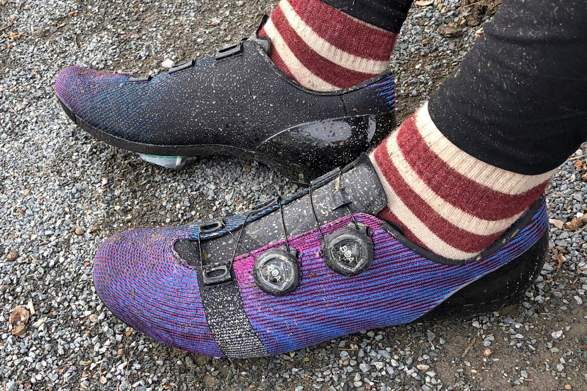 Riding the Rapha Pro Team Powerweave woven synthetic Boa dial IP1 full carbon road bike shoes