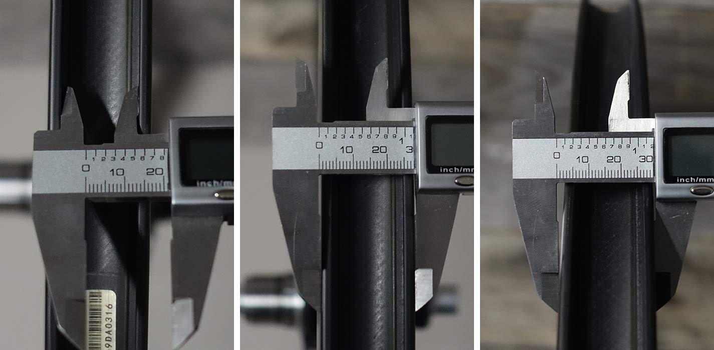 actual width measurements for princeton CarbonWorks grit 4540 gravel road bike wheels