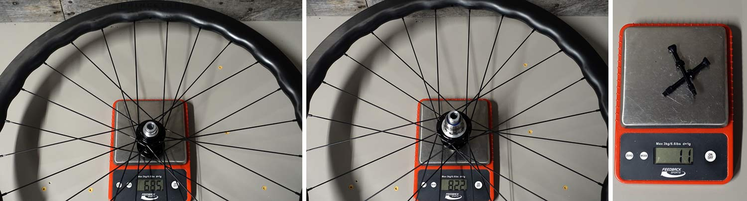 actual weights for princeton CarbonWorks grit 4540 gravel road bike wheels