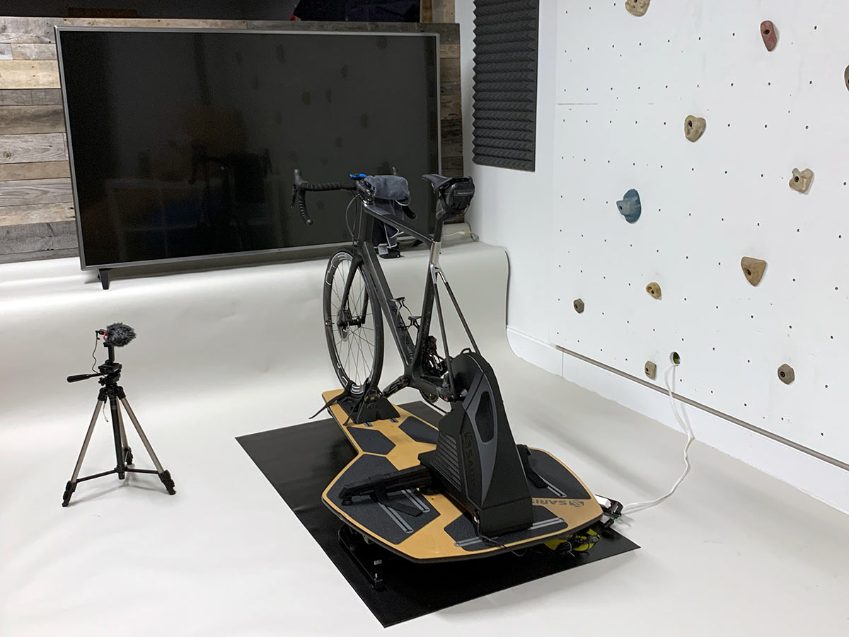 using a giant flatscreen tv to watch zwift rouvy and kinomap on your indoor bike trainer rides