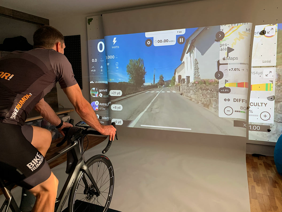 using a projector to create the largest screen for indoor cycling training
