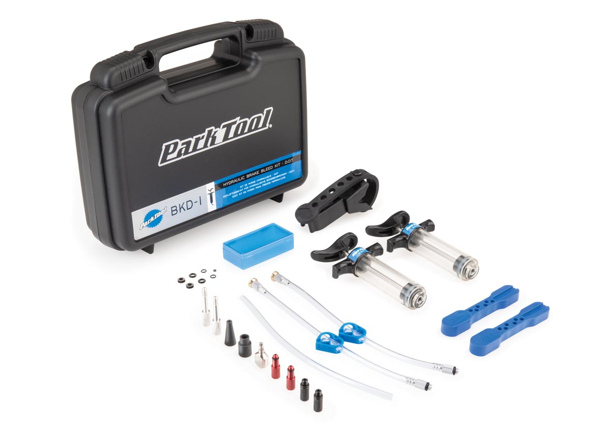 Park Tool hydraulic brake bleed kits come complete with a third hand to hold the syringe