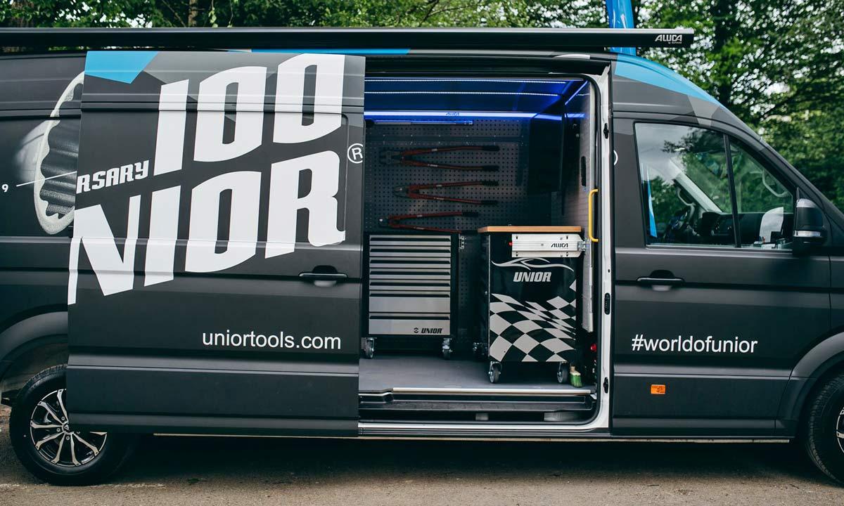 Unior Mobile Workshop Solutions, custom mobile bike shop van setup, the mechanic's #vanlife