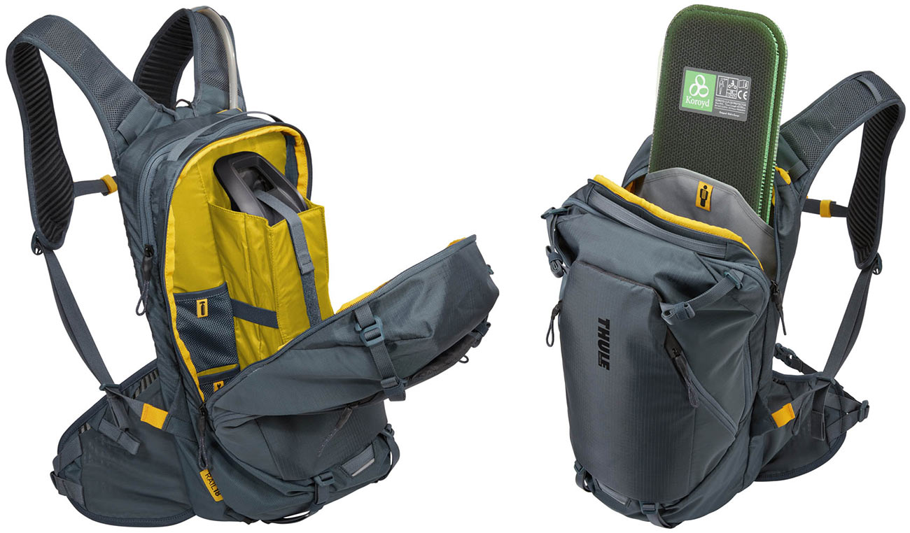 thule rail 18l hydration pack with e-bike battery storage and spine protection