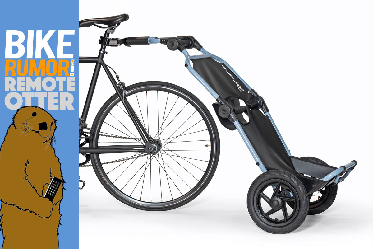 Burley loads up folding Travoy bicycle cargo trailer, adaptable Dash child seats [Remote Otter]