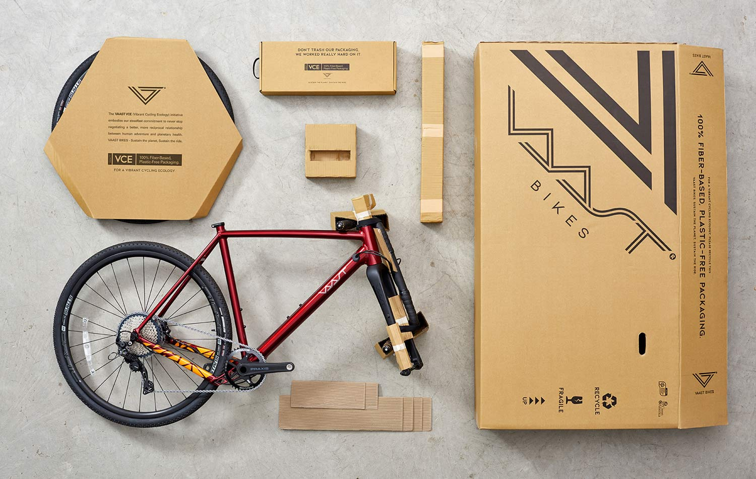 Vaast sustainability, fiber based recycled recyclable bike packaging, no plastics, more sustainable