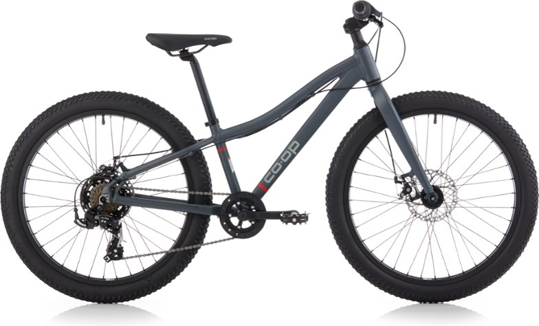 rei coop rev 24 inch wheel kids mountain bike with plus sized fat tires
