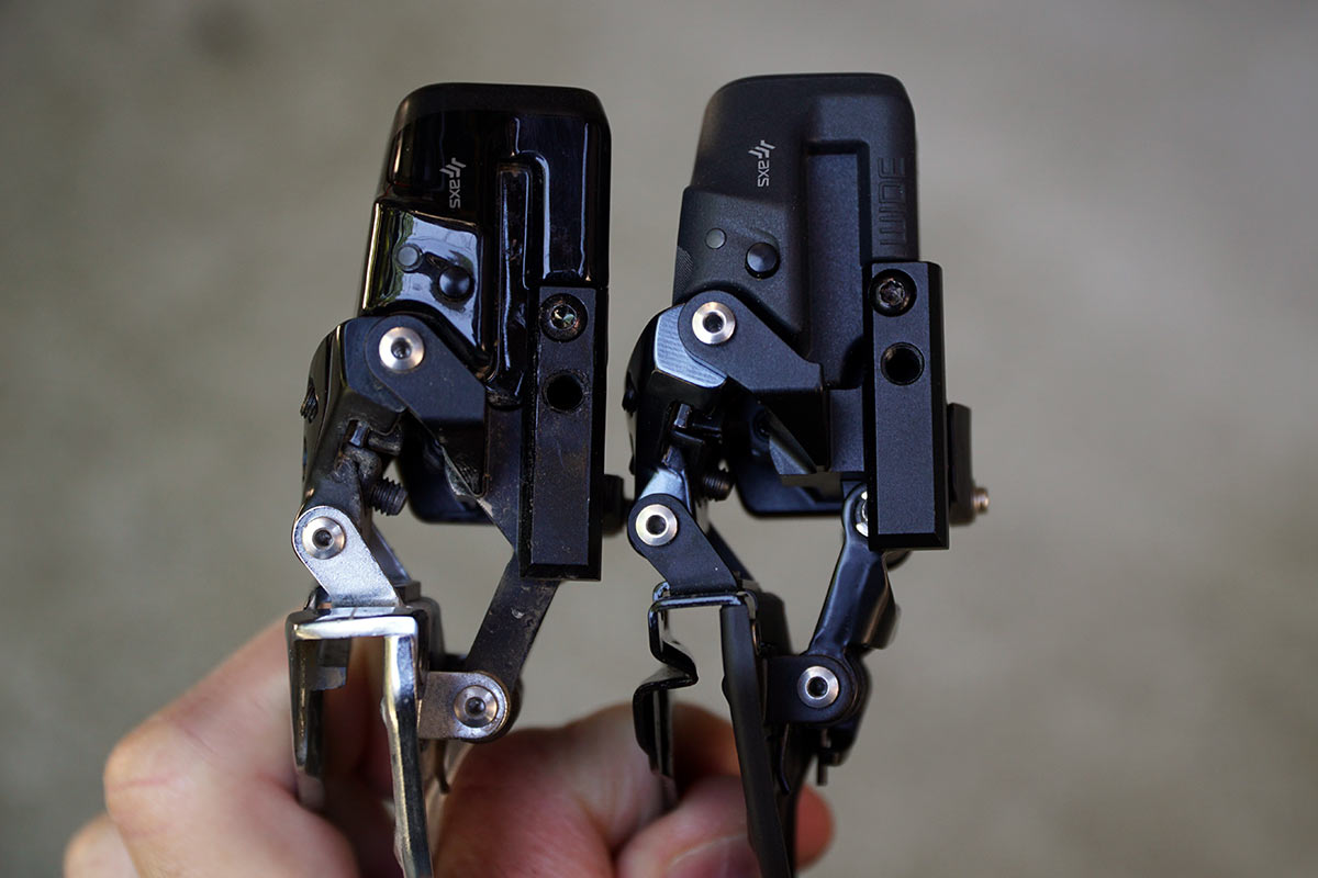 sram red axs and force axs 43-30 wide front derailleur comparison