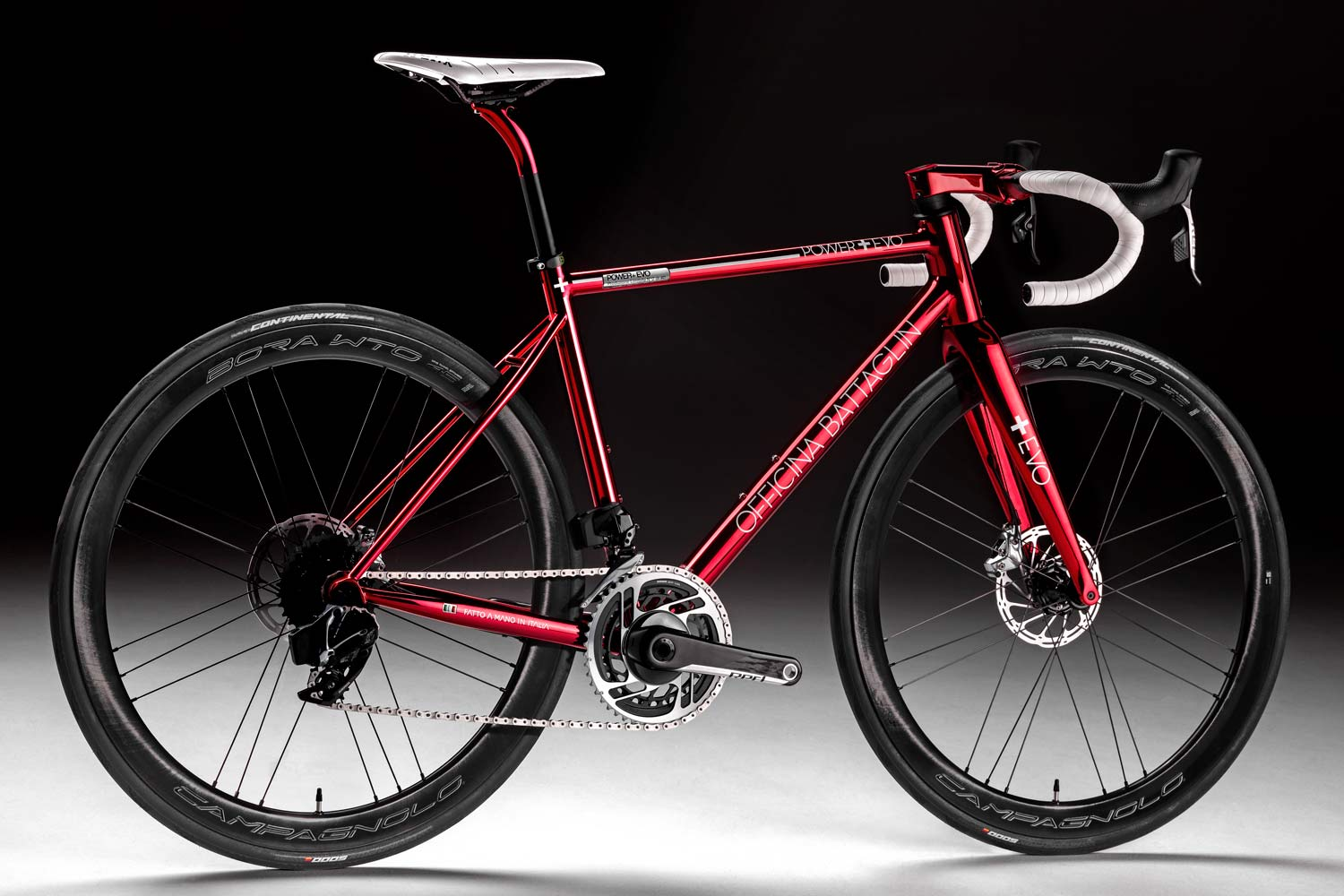 Battaglin Power Plus EVO ltd road bike, limited edition modern lightweight custom handmade Italian steel road bike, Power+ EVO is the first steel frame designed for an integrated cockpit with fully hidden cable routing