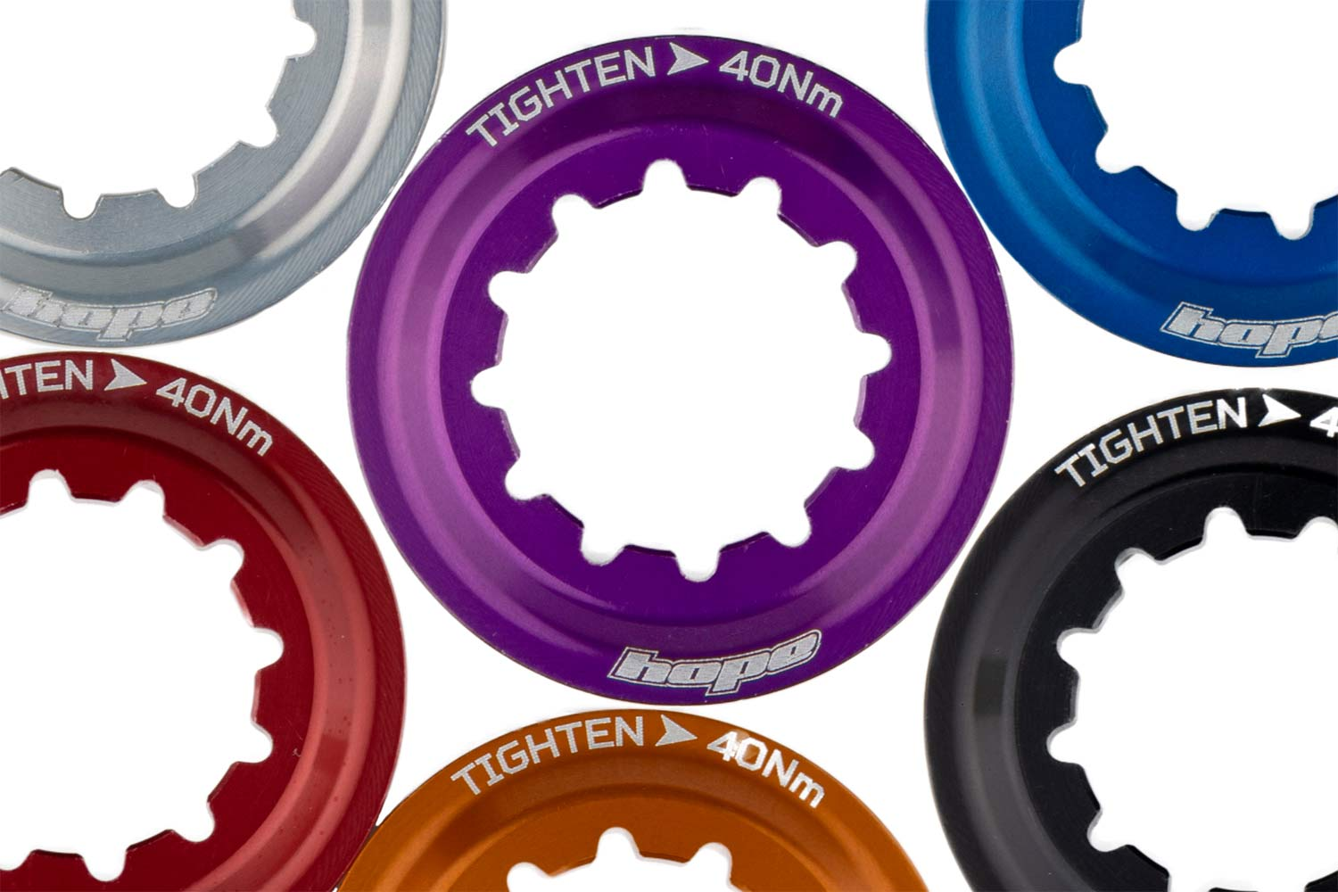 Hope Centre-Lock centerlock Lockrings add touch of colour, colorful bling to your disc brake rotors