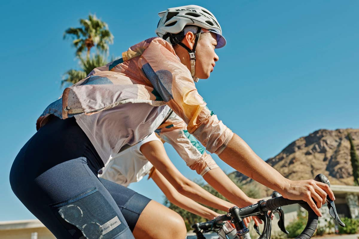 Rapha+Outdoor Voices women's cycling collection, casual performance riding kit clothing collaboration, photo by Cait Oppermann
