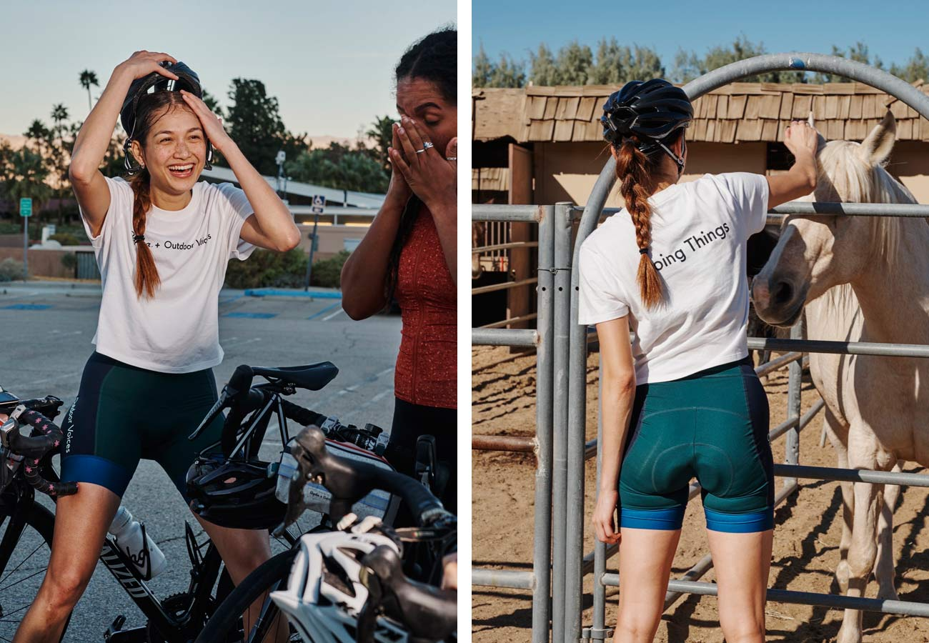 Rapha+Outdoor Voices women's cycling collection, casual performance riding kit clothing collaboration