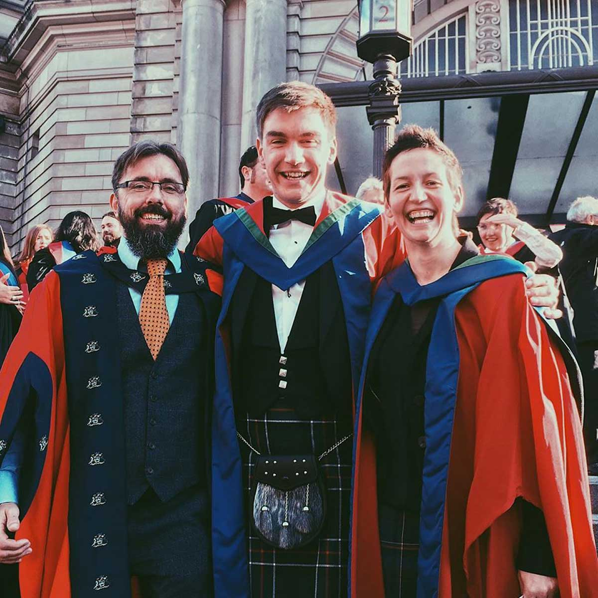 dr lewis kirkwood graduates with PhD in mountain biking vibrations school of applied sciences edinburgh napier university