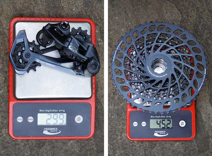 sram gx eagle actual weights for rear derailleur and 10-52 cassette