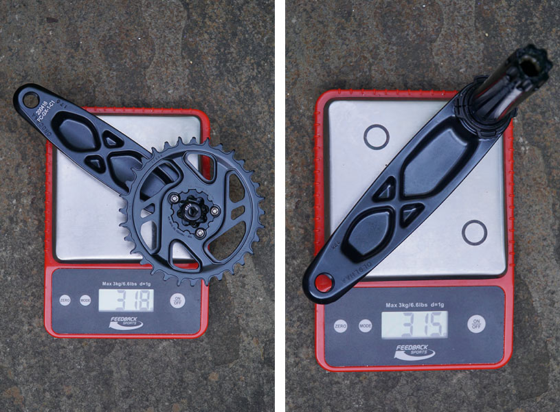 sram gx eagle actual weights for crankset with 32 tooth chainring