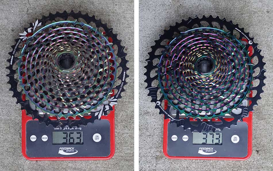 actual weights for sram eagle 10-50 and 10-52 cassettes
